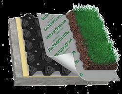 nappe pour toiture végétale composéee de plusieurs couches dont un drainage alvéolé (en noir sur l'image)